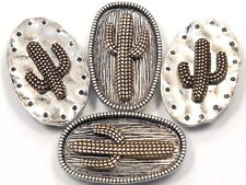 4 - 2 HOLE SLIDER BEADS ANTIQUED SILVER, BRASS SAGUARO CACTUS BEADS SOUTHWESTERN