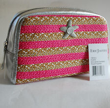 Eric Javits Cosmetic Pouch Travel Bag in Fuschia w/ Metallic Leather & Starfish