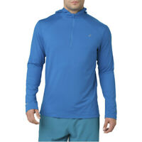 Asics Mens Long Sleeve Hoodie Blue Sports Running Warm Breathable Reflective