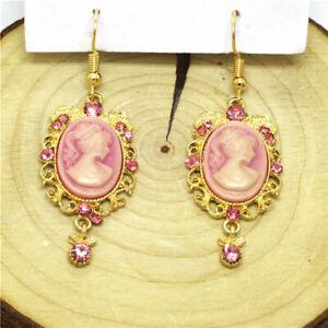 New Pink Resin Victorian Embossed Girl Betsey Johnson Women Stand Earrings