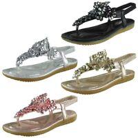Womens Ladies Elastic Strap Comfy Flat Bling Summer Peeptoe Sandals Shoes Sizes