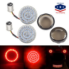 """2"""" Bullet 1157 LED Red Turn Signal Tail Lights+Lens Cover for Motorcycle Harley"""