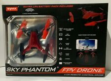 Syma Sky Phantom WiFi FPV Drone w/ Extra Battery Pack. Color - Red