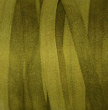 Silk Ribbon 100% Pure 4mm Green Embroidery Hand Dyed Citrus - 3 mtr