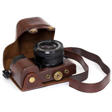 Leather case bag strap Camera for Sony alpha A6300 a6000 With 16-50mm Lens^