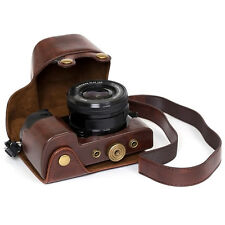Leather case bag strap Camera for alpha a6000 A6300 With 16-50mm Lens