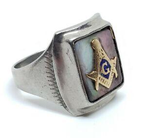 Vintage Men's Mid Century Silver Tone Freemason Masonic Square & Compass Ring