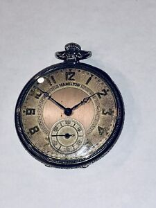 Vintage Hamilton 14K WGF 12s Pocket Watch With 912 Movement Clean Case