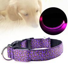 LED Light Flashing Glow Luminous Adjustable Pet Dog Safe Leopard Nylon purple #B