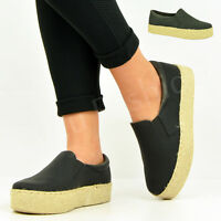 NEW WOMENS LADIES SLIP ON ESPADRILLES PUMPS FLAT PLATFORM TRAINERS SHOES SIZE UK
