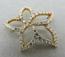 Rare Tiffany & Co. 18k Yellow Gold Diamond Plumeria Pin Brooch