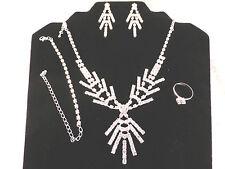 Silver Plated Rhinestone Bridal Ornate Necklace, Earrings, Bracelet, Ring Set