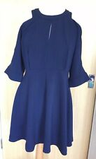 Whistles Ladies Dress 14 Navy Summer Occasion New Tags Fit and Flare Smart Races