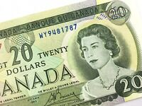 1969 Canada 20 Dollar Twenty Dollar Circulated WY Lawson Bouey Banknote R371