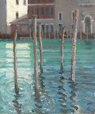 "ORIGINAL MICHAEL RICHARDSON OIL ""Mooring Poles on Grand Canal"" venice PAINTING"