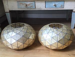 Pair Of Vintage Art Deco Opaque Capiz Shell Geodesic Orb Retro  Light Shades