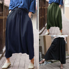 UK 10-24 Women Elastic Waist Long Baggy Drop-Crotch Harem Pants Fashion Trousers