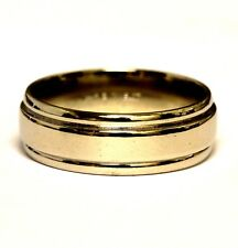 14k white gold mens comfort fit 6.8mm wedding band ring 6.8g vintage gents