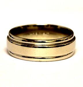 14k white gold mens comfort fit 6.8mm wedding band ring 6.8g vintage gents
