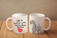 """Kerry Blue Terrier - ceramic cup, mug """"Life is better"""", Ca"""