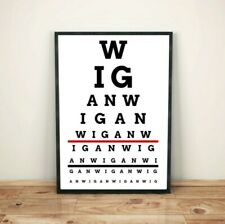Wigan Eye Test Art Print Poster (Wigan Warriors, Wigan Athletic colours...
