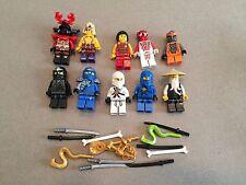 LEGO NINJAGO MINIFIG LOT of 10 MINIFIGS 4 Ninjas Weapons Lot O361