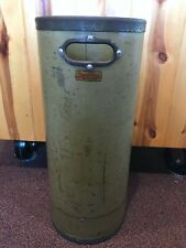 """VINTAGE SPAULDING'S DOVER NH ROVING CAN BARREL STORAGE CONTAINER, ARMY GREEN 23"""""""