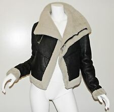 RICK OWENS Black Shearling Leather Asymmetric Biker Moto Jacket US 8 IT 42