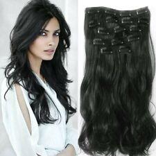 Extension De Cheveux A Clip Noir Wavy 7Pcs Rajout Postiche Coiffure Mariage