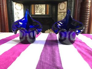 Set of 2 Vases - Blue Cobalt Polish Vases