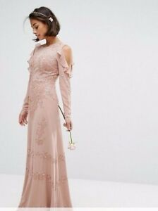 NEW Maya Petite Cold Shoulder Sequin Maxi Dress, Peach - 6