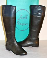 New $298 Jack Rogers Mercer II Black/Blue Leather Riding/Tall Boot sz 8