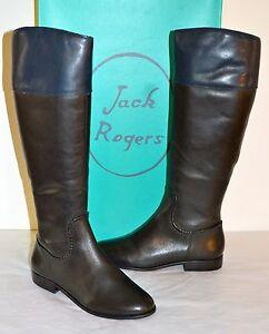 New $298 Jack Rogers Mercer II Black/Blue Leather Riding/Tall Boot sz 8