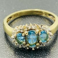 Solid 9ct 375 Yellow Gold Topaz & Diamond Cluster Ring sz UK N US 6 3/4 L152