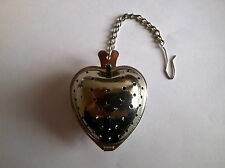 HEART SHAPED TEA INFUSER STRAINER WITH HOOK AND CHAIN (BRAND NEW)
