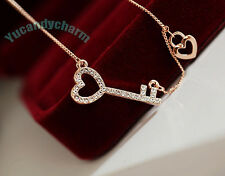 Made in Korea 18K Rose Pink Gold Plated Heart Key and Lock Charm Love Necklace