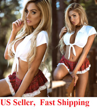 US Sexy Lingerie School Girl Student Cosplay Fancy Dress Uniform Night Costume