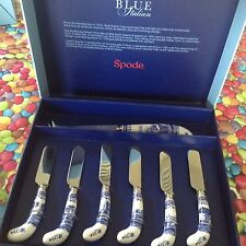 Spode Blue Italian Cheese knife and 6 Spreaders   New Best BNIB