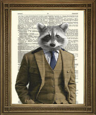 "RACCOON IN SUIT: Fun Human Animal Dictionary Art Print (10x8"")"