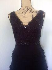 Neiman Marcus-Tadashi- V-Neck-Black Beaded-Sequin-Ruffled-Silk-Lace-Dress Sz 4