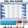 2020 LAMINATED Annual Yearly Wall Planner Calendar Chart with UK Bank Holidays