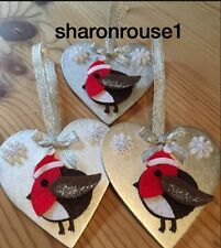 3 X Handmade Robin Christmas Hanging Decorations With Snowflakes Silver