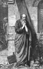 ST PETER. Praying. Portrait. Beard, antique print, 1863