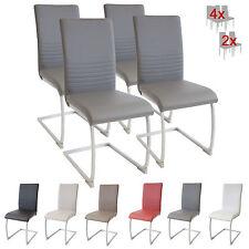 Esszimmerstühle MURANO, 4er Set, grau, Freischwinger Schwingstuhl Stuhl Leder