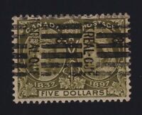 Canada Sc #65 (1897) $5 olive green Diamond Jubilee VF Used Montreal Roller