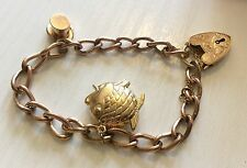Beautiful Ladies Early Vintage Solid Heavy 9ct Gold Charm Bracelet Must See