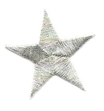 "( ONE DOZEN - 12 )  1 5/8"" Silver Metallic Stars - Embroidered Iron On Patches"