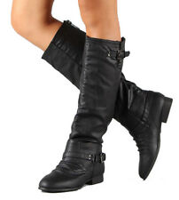 NEW 7 BLACK KNEE HIGH RIDDING WOMAN BOOT FLAT HEEL COMBAT SLOUCH BUCKLE C1