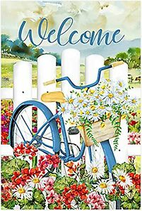 Morigins Welcome Flowers Bicycle Daisy Summer Spring Double Sided Garden Flag
