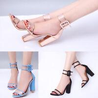 Womens Buckle Belt Block High Heels Clear Sandals Party Summer Peep Toe Shoes